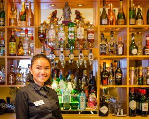 Barmaid in wine bar